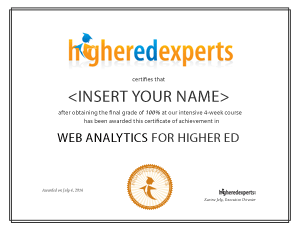 Certificate in Web Analytics for Higher Ed