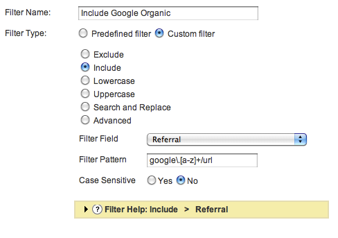 GA Filter: Include Google Organic