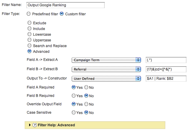 GA Filter: Output Google Ranking
