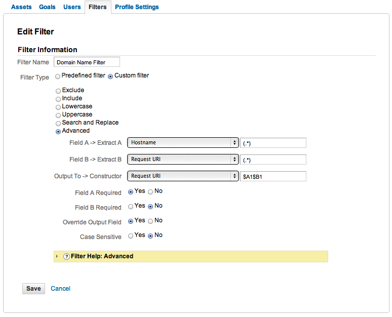 Google Analytics Domain Name Profile Filter