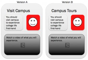 Google Analytics Content Experiments A/B Test for Campus Tours